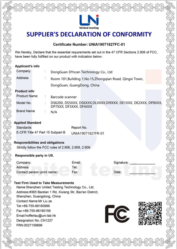 China Shenzhen DYscan Technology Co., Ltd Zertifizierungen